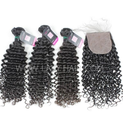 "Superior Grade 3 bundles with silk base closure 4*4"" Deep Curly Virgin hair Brazilian Peruvian Malaysian Indian European Cambodian Burmese Mongolian"
