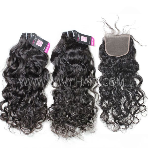 Superior Grade mix 4 bundles with lace closure Brazilian natural wave Virgin Human hair extensions