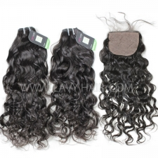 "Regular Grade mix 4 bundles with silk base closure 4*4"" Indian Natural Wave Virgin Human hair extensions"