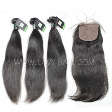 "Regular Grade mix 4 bundles with silk base closure 4*4"" Brazilian Straight Virgin Human hair extensions"