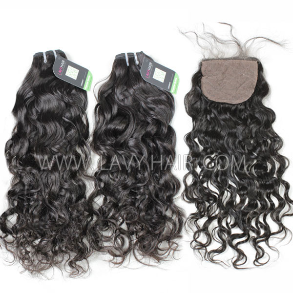 "Regular Grade mix 4 bundles with silk base closure 4*4"" Cambodian Natural Wave Virgin Human hair extensions"