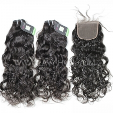 Regular Grade mix 4 bundles with lace closure Indian Natural Wave Virgin Human hair extensions