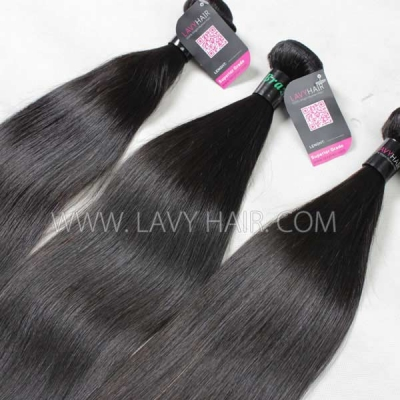 "Superior Grade mix 4 bundles with silk base closure 4*4"" Brazilian Straight Virgin Human hair extensions"