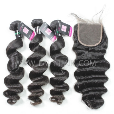 Superior Grade mix 3 bundles with lace closure Brazilian loose wave Virgin Human hair extensions