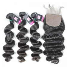 "Superior Grade mix 4 bundles with silk base closure 4*4"" Brazilian loose wave Virgin Human hair extensions"
