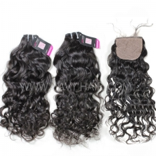 "Superior Grade mix 4 bundles with silk base closure 4*4"" Brazilian natural wave Virgin Human hair extensions"