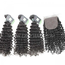 "Regular Grade mix 3 bundles with silk base closure 4*4"" Brazilian Deep Curly Virgin Human hair extensions"
