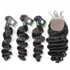 "Regular Grade mix 4 bundles with silk base closure 4*4"" Peruvian loose wave Virgin Human hair extensions"
