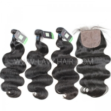 "Regular Grade mix 3 bundles with silk base closure 4*4"" Peruvian Body wave Virgin Human hair extensions"