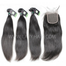 Regular Grade mix 3 bundles with lace closure Brazilian Straight Virgin Human hair extensions
