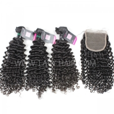 Superior Grade mix 4 bundles with lace closure Brazilian Deep Curly Virgin Human hair extensions