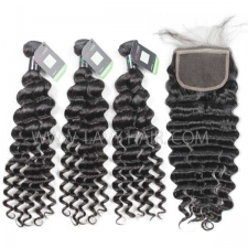 Regular Grade mix 4 bundles with lace closure Brazilian Deep wave Virgin Human hair extensions