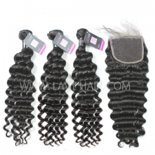 Superior Grade mix 4 bundles with lace closure Brazilian Deep wave Virgin Human hair extensions