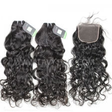 Regular Grade mix 4 bundles with lace closure Peruvian Natural wave Virgin Human hair extensions