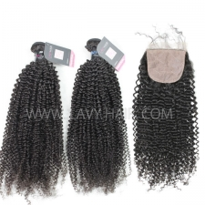 "Superior Grade mix 4 bundles with silk base closure 4*4"" Peruvian Kinky Curly Virgin Human hair extensions"