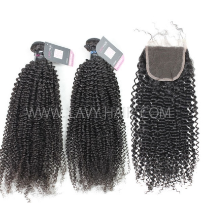 Superior Grade mix 3 bundles with lace closure Peruvian Kinky Curly Virgin Human hair extensions