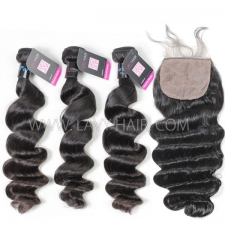 "Superior Grade mix 4 bundles with silk base closure 4*4"" Peruvian Loose Wave Virgin Human Hair Extensions"