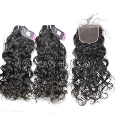 Superior Grade mix 3 bundles with lace closure Peruvian Natural Wave Virgin Human Hair Extensions