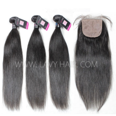 "Superior Grade mix 4 bundles with silk base closure 4*4"" Peruvian Straight Virgin Human Hair Extensions"