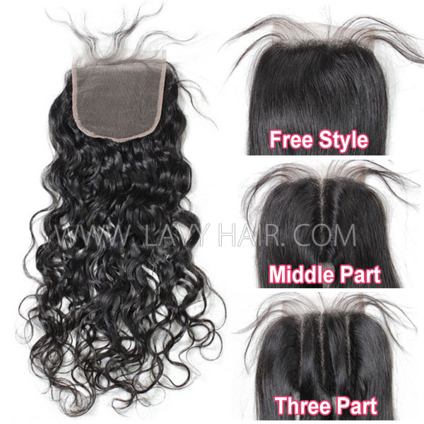 "Lace top closure 4*4"" Natural wave Human hair medium brown Swiss lace"
