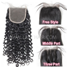 "Lace top closure 4*4"" Deep Curly Human hair medium brown Swiss lace"
