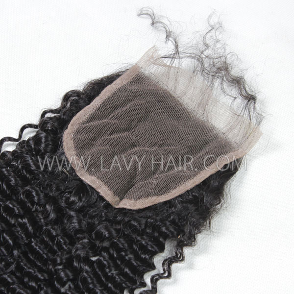 "Lace top closure 4*4"" Kinky Curly Human hair medium brown Swiss lace"