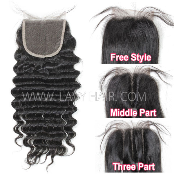 "Lace top closure 4*4"" Deep wave Human hair medium brown Swiss lace"
