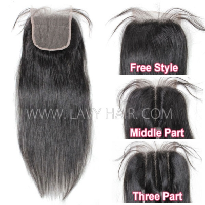 "Lace top closure 4*4"" Straight Hair Human hair medium brown Swiss lace"