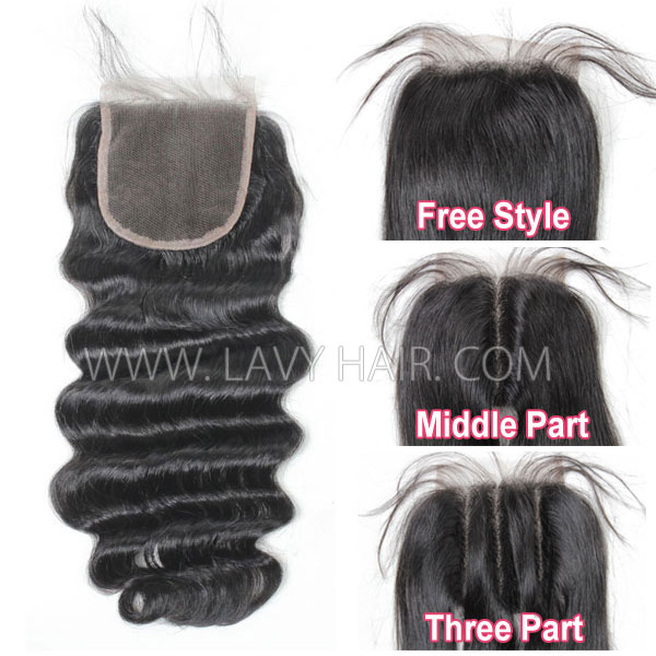 "Lace top closure 4*4"" Loose wave Human hair medium brown Swiss lace"