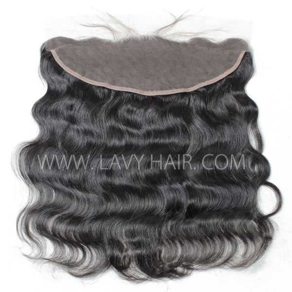 Ear to ear 13*4 Lace Frontal Closure Body Wave Human hair medium brown Swiss lace