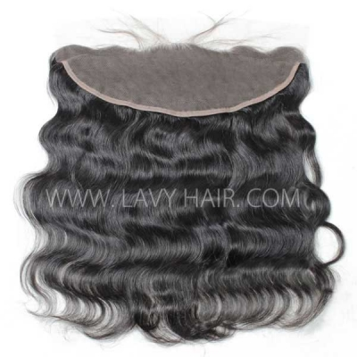 #1B Color Ear to ear 13*4 Lace Frontal Body Wave Human hair Swiss lace