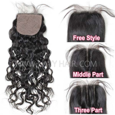 Silk base closure 4*4 Natural Wave Human hair medium brown