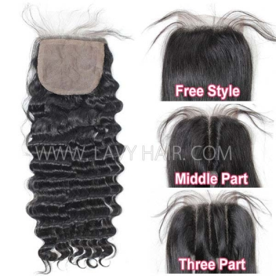 Silk base closure 4*4 Deep Wave Human hair medium brown