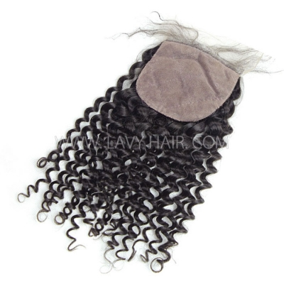 Silk base closure 4*4 Deep Curly Human hair medium brown