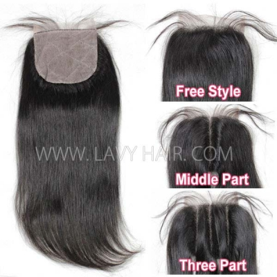 Silk base closure 4*4 Straight Human hair medium brown
