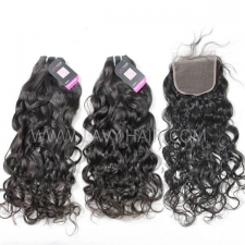 Superior Grade mix 4 bundles with lace closure Cambodian natural wave Virgin Human hair extensions