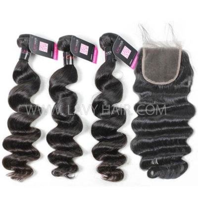 Superior Grade mix 4 bundles with lace closure Cambodian loose wave Virgin Human hair extensions