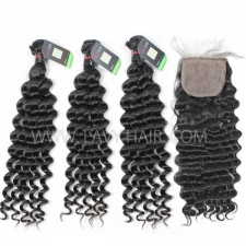 "Regular Grade mix 4 bundles with silk base closure 4*4"" Cambodian Deep wave Virgin Human hair extensions"