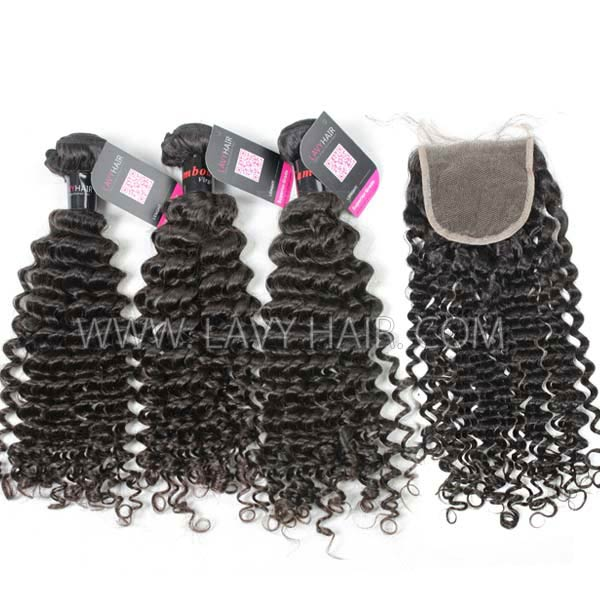 Superior Grade mix 4 bundles with lace closure Cambodian deep curly Virgin Human hair extensions