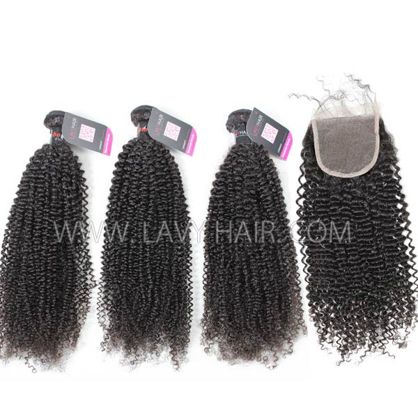 Superior Grade mix 3 bundles with lace closure Cambodian Kinky Curly Virgin Human hair extensions