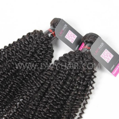 Superior Grade mix 4 bundles with lace closure Cambodian Kinky Curly Virgin Human hair extensions