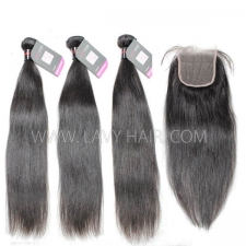 Superior Grade mix 4 bundles with lace closure Cambodian Straight Virgin Human hair extensions