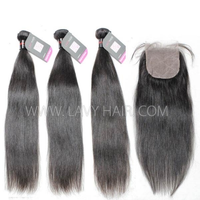 "Superior Grade mix 4 bundles with silk base closure 4*4"" Cambodian Straight Virgin Human hair extensions"