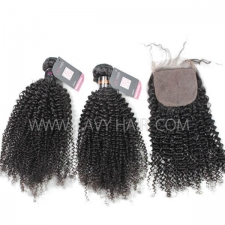 "Superior Grade mix 3 bundles with silk base closure 4*4"" Indian Kinky Curly Virgin Human hair extensions"