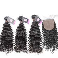"Superior Grade mix 4 bundles with silk base closure 4*4"" Indian Deep Curly Virgin Human hair extensions"