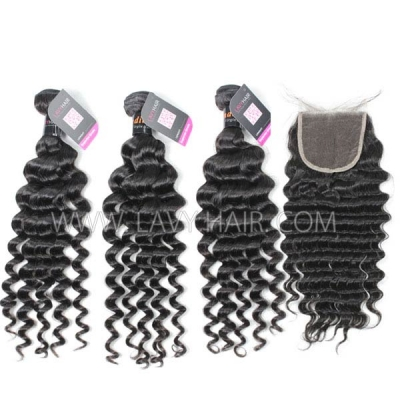 Superior Grade mix 4 bundles with lace closure Indian Deep wave Virgin Human hair extensions