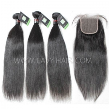 Regular Grade mix 3 bundles with lace closure Cambodian Straight Virgin Human hair extensions