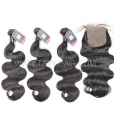 "Superior Grade mix 3 bundles with silk base closure 4*4"" Indian Body wave Virgin Human hair extensions"