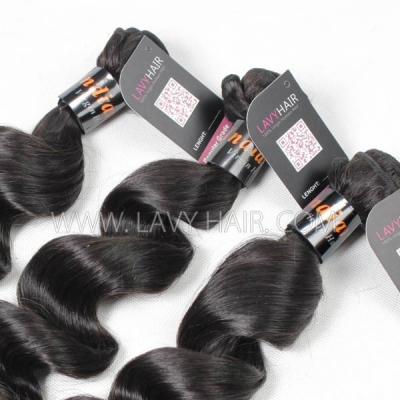 Superior Grade mix 4 bundles with lace closure Indian Loose Wave Virgin Human Hair Extensions
