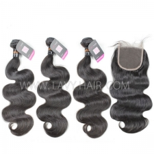 Superior Grade mix 4 bundles with lace closure Indian Body wave Virgin Human hair extensions